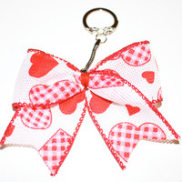 Valentine Hearts Keychain Bow with Red Center and opening and closing clasp