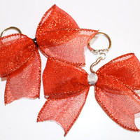 Red Shimmer Keychain Bow with opening and closing clasp
