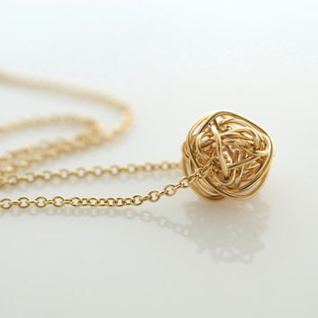 Gold Love Knot Necklace, Layering Jewelry, Delicate Jewelry, Minimalist Jewelry