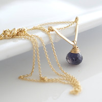 Iolite Necklace, Delicate Necklace, Layering Necklace