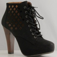 Qupid Puffin-62 Black High Heel Boot Nubuck Lace up Platform Bootie - Perforated High Heel Black Bootie