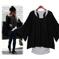 2 PCS T-Shirt +Tank Vest Sexy Women Batwing Blouses Casual Short Sleeve Loose Tops