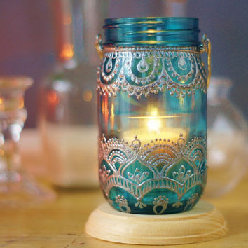 Mason Jar Lantern, Moroccan Inspired Teal Glass with Silver Detailing