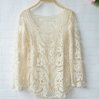 LOOSE HOOK FLOWER HOLLOW OUT LONG SLEEVE BLOUSE