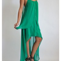 Emerald Flowy Halter Fishtail Dress
