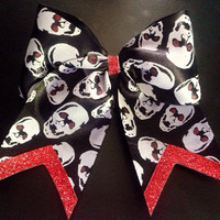 Red Glitter Skeleton Cheer Bow