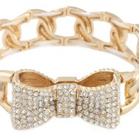 3 Pieces of Gold with Clear Iced Out 3D Bow Charm Linked Stretch Bracelet