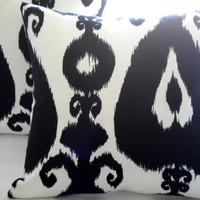 Black and White Ikat print 18 x 18 pillow cover