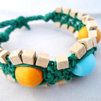 Teal and Yellow Macrame Hemp Bracelet