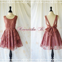 A Party Dress - V Shape Brown Lace Rosy Brown Lined Bridesmaid Dress Prom Dress Backless Cocktail Dress Homecoming Dress Night Dress Small