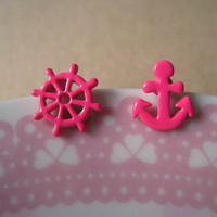 Nautical Earrings Anchor Earring Wheel Earring  Hot by Bitsofbling