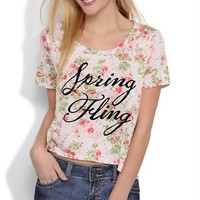 Mid Crop Top with Floral Print and Spring Fling Screen with Lace Back