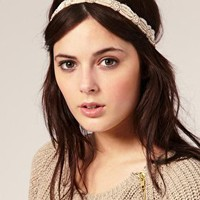 River Island | River Island Nude Embellished Stretch Head Band at ASOS