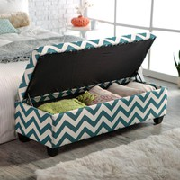 angelo:HOME Kent Storage Bench Ottoman - Blue Chevron | www.hayneedle.com