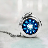 Iron man necklace Heart Arc reactor locket