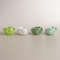CERAMIC FLOWER TEALIGHT CANDLEHOLDERS, SET OF 4