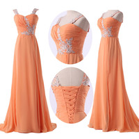 2014 New Stock Chiffon Evening Formal Party Ball Gown Prom Bridesmaid Long Dress