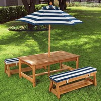 KidKraft Outdoor Table and Chair Set with Navy Stripes Cushions
