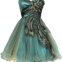 Metallic Peacock Embroidered Holiday Party Prom Dress Junior Plus Size