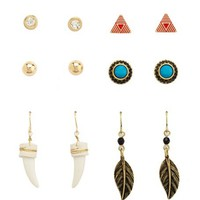 SOUTHWESTERN HORN & FEATHER EARRING SET