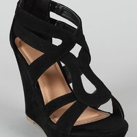 Lindy 66 Strappy Open Toe Platform Wedge Black 9