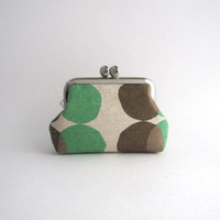 Coin Purse - Frame Mini Pouch Mini Jewelry Case with Ring Pillow - brown and green dots