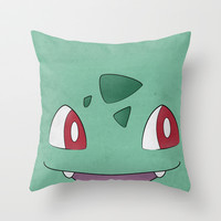 Bulbasaur Minimalism Pokemon Poster Throw Pillow by Jorden Tually Art