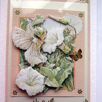 Fairy Hand-Crafted 3D Decoupage Card - With Love & Best Wishes (1305)