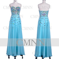 Blue Prom Dresses, 2014 Prom Gown, Strapless Sweetheart Long Chiffon Sky Blue Formal Dresses, Wedding Party Dresses, Formal Gown