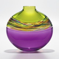 Flat Transparent Banded Vortex Vase in Lime Spring Violet by Michael Trimpol: Art Glass Vase | Artful Home