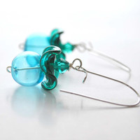 Blue Teal Ruffle Glass Earrings