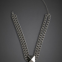 Double Chain Stud Necklace