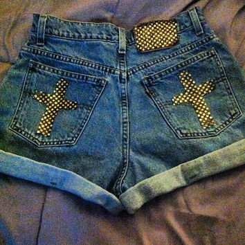 Gold Sequin Cross Shorts