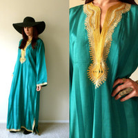 Green Satin Striped Gold Embroidered Indian Caftan Long Sleeve Hippie Maxi Dress