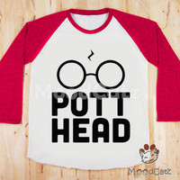 S, M, L -- Design 1 - Pott Head T-Shirt Harry Potter T-Shirt Hogwarts T-Shirt Women T-Shirt Unisex T-Shirt Raglan Pink Sleeve Baseball Shirt