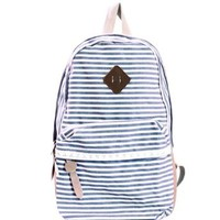 Generic Fashion Women Ladies Girls Cute Backpack Canvas Stripe Leisure Travel Book Bag (Blue)