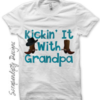 Grandpa Iron on Transfer - Iron on Shirt PDF / New Grandpa Shirt / Cowboy Boots Tshirt / Boy Toddler Clothes / Baby Grandma Gifts IT235-C