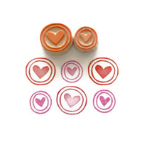 Circle Border Hearts - Rubber Stamp Set - Cling Rubber Stamps