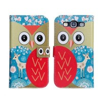 Nccypo Premiun Wallet Stand Leather Case with Credit ID Cards Holders Fit For Samsung Galaxy S3 i9300(Owl With Giraffe),Include Screen Protector, Stylus and Cleaning Cloth