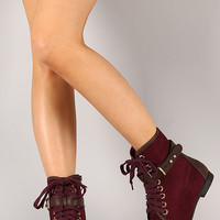 Polly-03 Suede Lace Up Round Toe Ankle Bootie