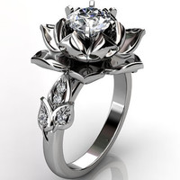 14k white gold diamond unusual unique lotus flower engagement ring, bridal ring, wedding ring ER-1076-1