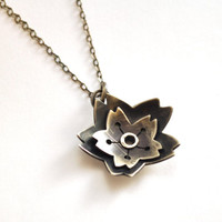 Silver Blossom Necklace, Boho Flower Jewelry, Oxidized Silver Necklace with Silver Chain and Handmade Clasp