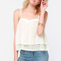 Free Spirit Cream Lace Tank Top
