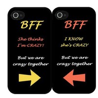 "BFF Quote ""She's Crazy"" Arrow Best Friends Set i4 iPhone 4 4s Hard Case"