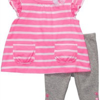 Carter&#x27;s Hot Pink Tunic and Leggings 2 Piece Set