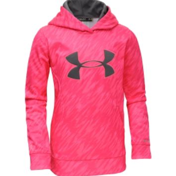 Under Armour Girls' Power In Pink Armour Fleece Storm Printed Big Logo Hoodie