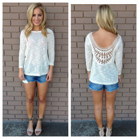 Cream Knit Low Back Embroidered Top