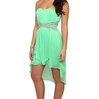 Dress with Criss Cross Stone Illusion Bodice