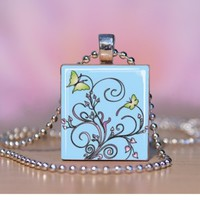 Simple nature butterflies plants sky blue glass scrabble tile necklace | LittleApples - Jewelry on ArtFire