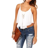Ivory Shirt Tail Crop Tank